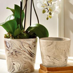 Marbelized Porcelain Planters