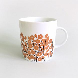 White Mug with Copper Flowers