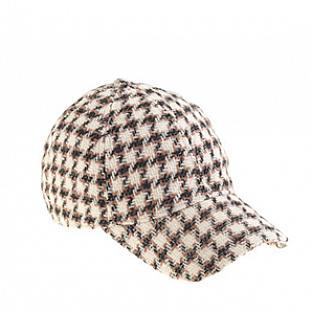 Houndstooth baseball cap.
