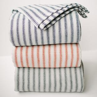 sarah richardson design finds ticking stripe fairbault mill blanket