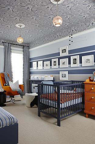 sarah richardson sarah 101 blue orange nursery stripe walls paisley ceiling