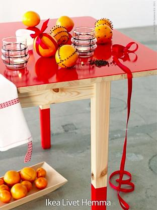 Ikea table with red glossy top and feet