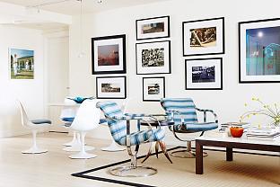 sarah richardson vintage modern condo living room dining room