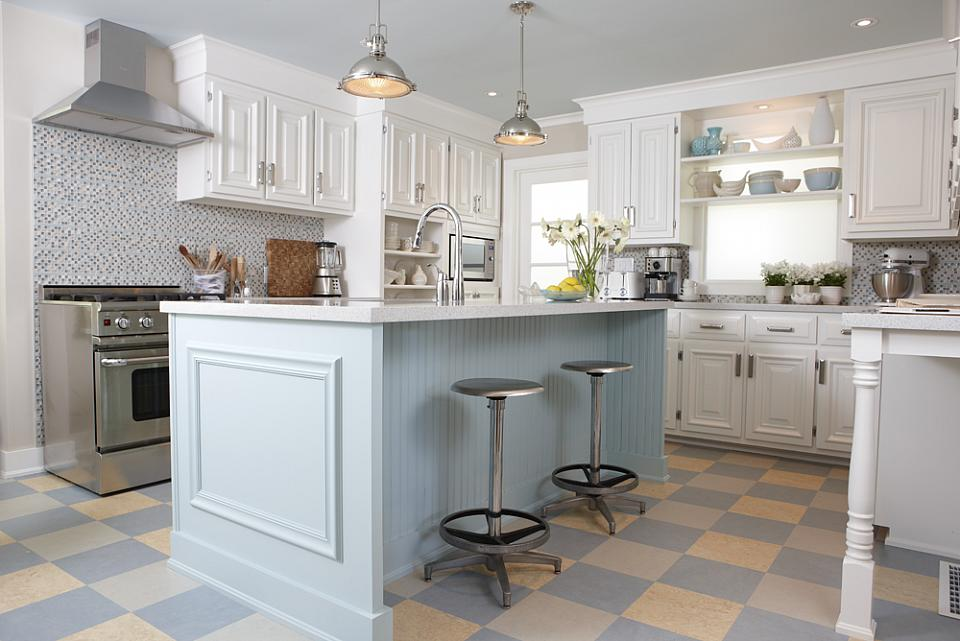 Etonnant Sarah Richardson Sarah 101 Kitchen Blue Island Checkerboard Floor