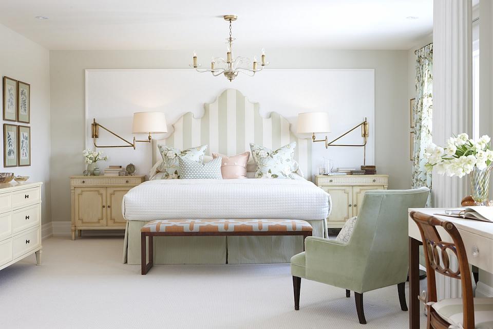 Sarah Richardson Sarah House 4 Master Bedroom Green Stripe Headboard