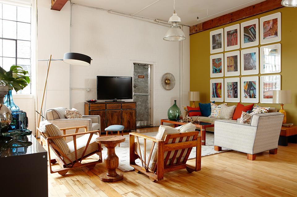 Sarah Richardson Sarah 101 Orange Loft Gallery Wall Midcentury Modern  Furniture