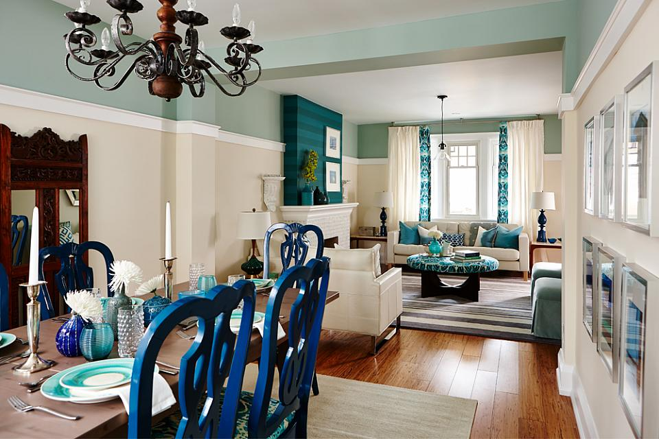 Globe and Mail Real Potential Turquoise Living Dining Room