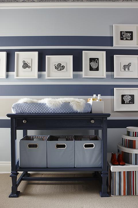 sarah richardson sarah 101 blue orange nursery stripe walls change table