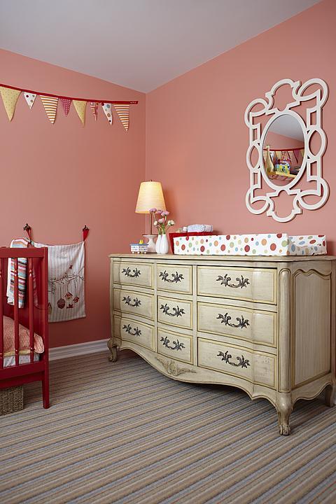 Sarah Richardson Sarah 101 Nursery Pink Red Crib Vintage Dresser