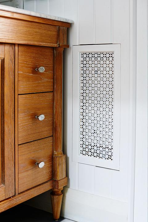 bathroom vanity drawers with decorative wall vent