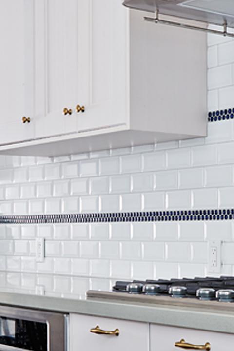 Globe and Mail Real Potential Navy White Kitchen Backsplash