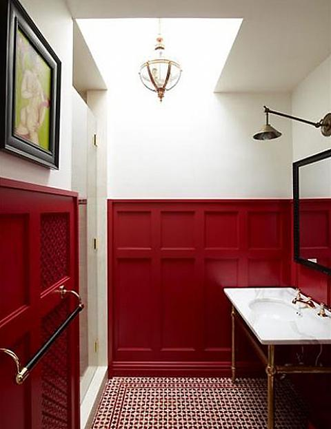 Bathroom with Red Wainscotting