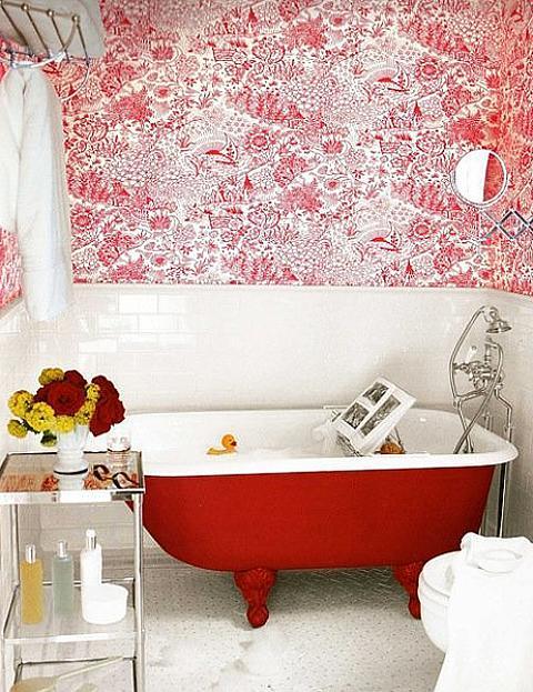 Red Clawfoot Tub
