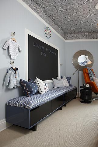 sarah richardson sarah 101 blue orange nursery stripe walls paisley ceiling blue bench