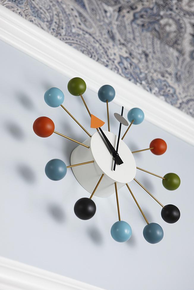 sarah richardson sarah 101 blue orange nursery stripe walls paisley ceiling nelson clock