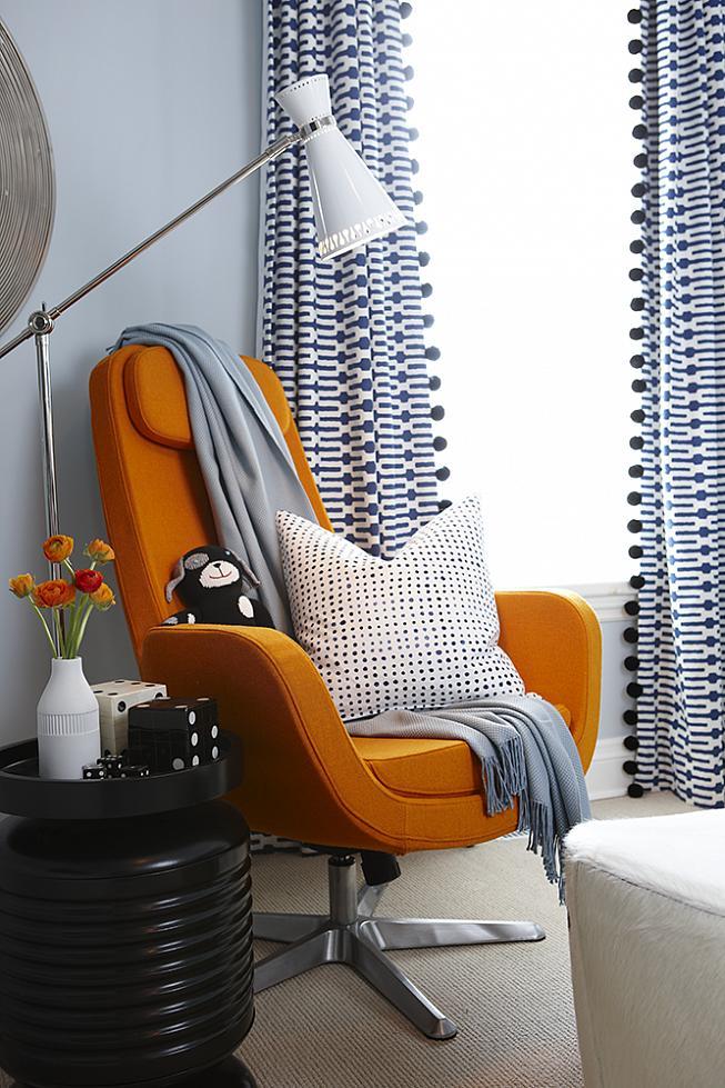 sarah richardson sarah 101 blue orange nursery stripe walls paisley ceiling orange chair