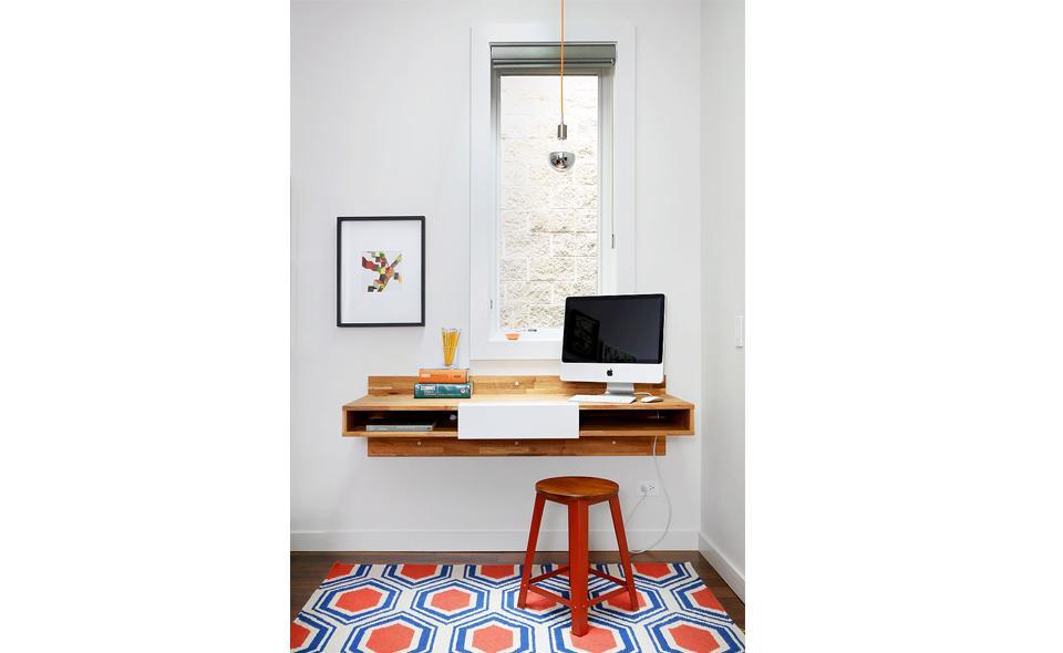 desk mounted under window