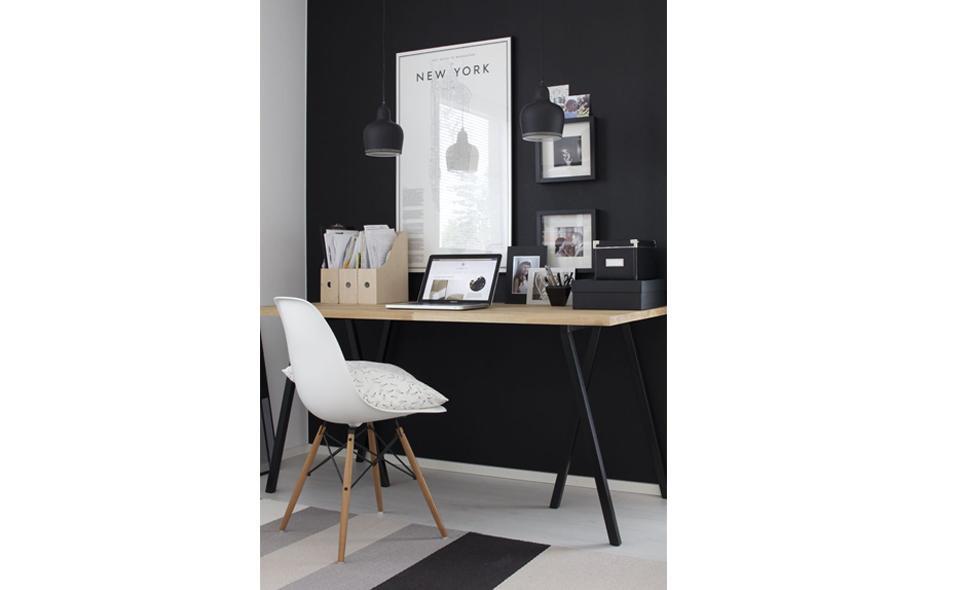 desk on focal wall