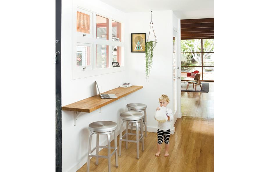 desk bar in kitchen