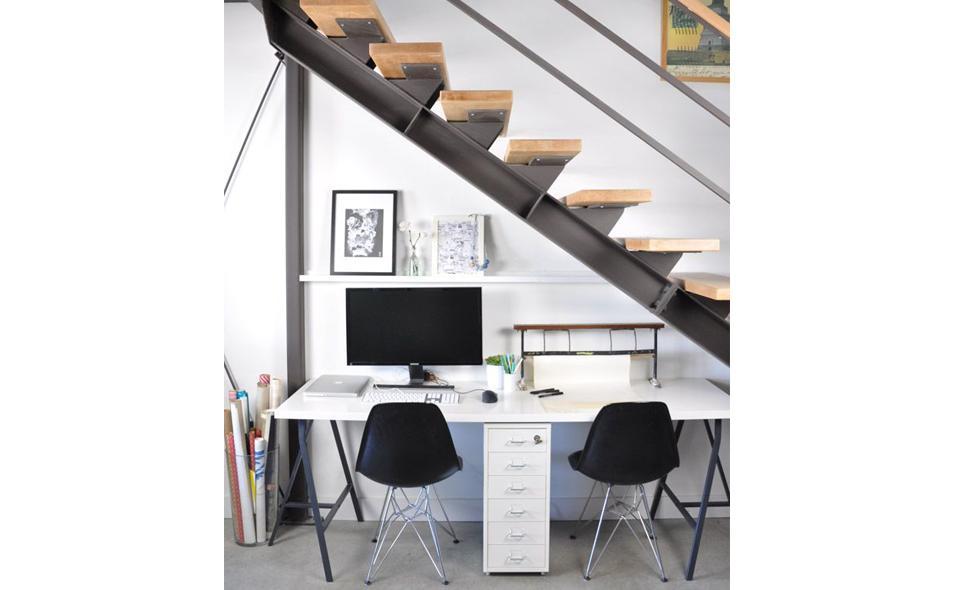 desk under stairs
